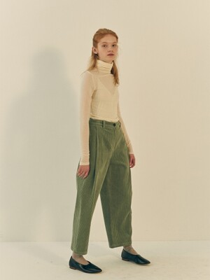 SALENA TUCK PANTS MINT CORDUROY