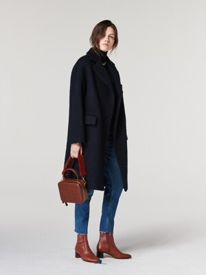 OVERSIZED SINGLE COAT. NAVY