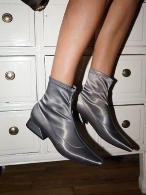 Melody Satin Socks Boots / YY9A-B09 Grey satin