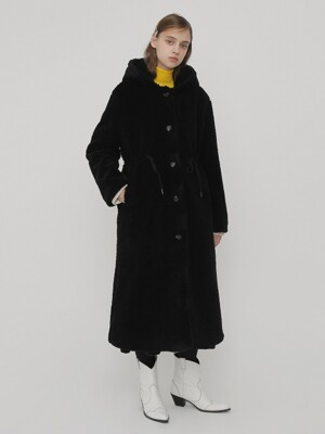 R HOODIE FUR LONG COAT_BLACK