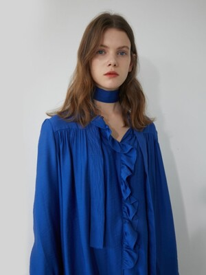 19' WINTER_NEBULAS BLUE TIE BLOUSE
