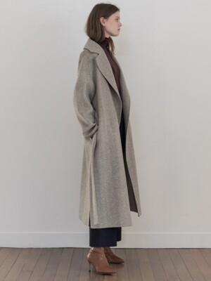 [19FW]Wool Herringbone Handmade Robe Coat