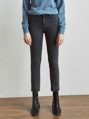 CUTTING SLIM STRAIGHT JEAN_BLACK DENIM