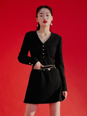 Tweed pocket dress [black]