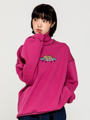 ANGEL EMBROIDERY TURTLE NECK SWEAT SHIRT [VINTAGE PINK]