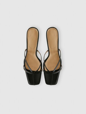 STRAPPY HEELED MULES (BLACK)