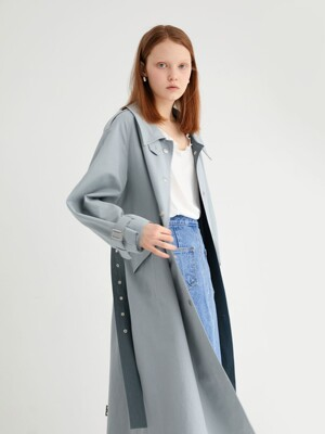 20' SPRING_Earthy Blue Single Trench Coat