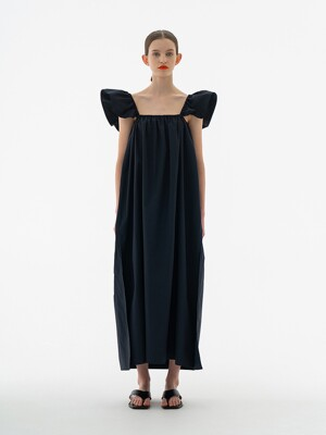 GATHER WING MAXI DRESS MIDNIGHT NAVY