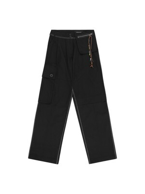 HARLEE TWILL BIG CARGO PANTS apa396w(BLACK)