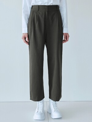 PINTUCK WIDE COTTON PANTS_CHARCOAL