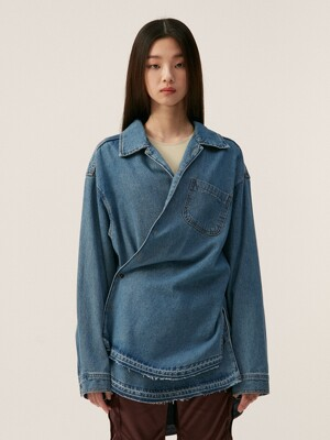 DENIM WRAP SHIRT, BLUE