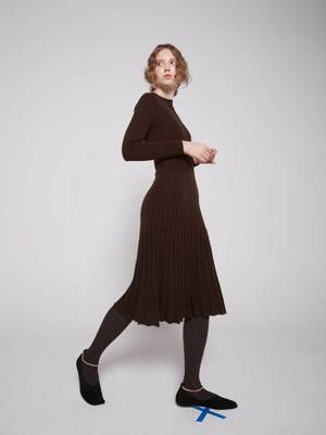 Cashmere blended Flared rib knit dress