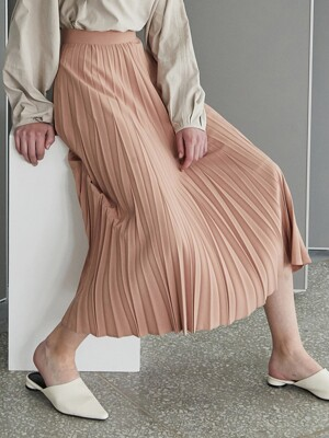 amr1209 pleats skirt (peach)