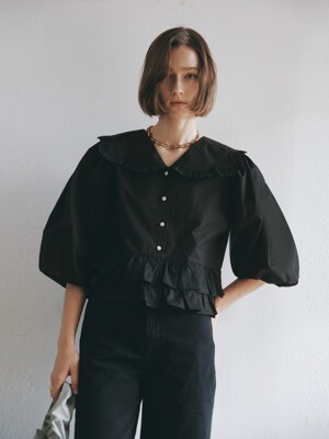 CLOUD PUFF BLOUSE_BLACK (EEOO1BLR05W)