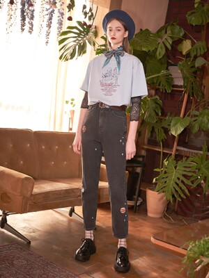 Planet Embroidered Jeans