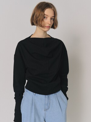 COWL NECK COTTON TOP [BLACK]