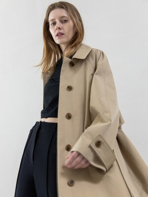 Side Button Long Trenchcoat-Deep Beige