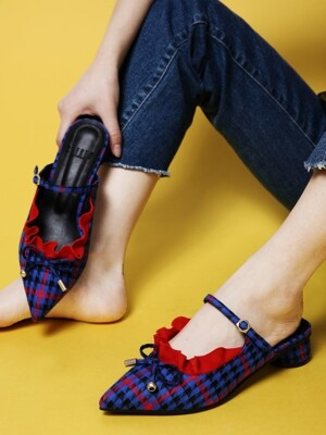 It's Adorable Mules Blue Check_R0048