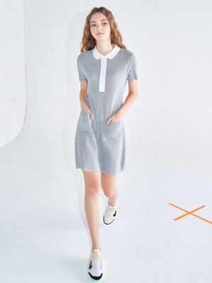 Polo knit dress Grey