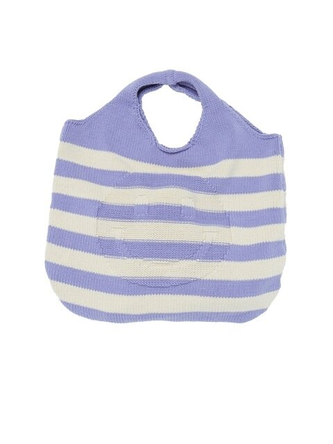 [UNISEX]  STRIPE SMILE KNIT BAG [L.PURPLE]