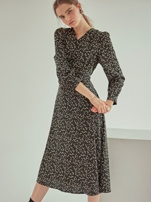 FLORAL ROBE LONG OPS_BLACK