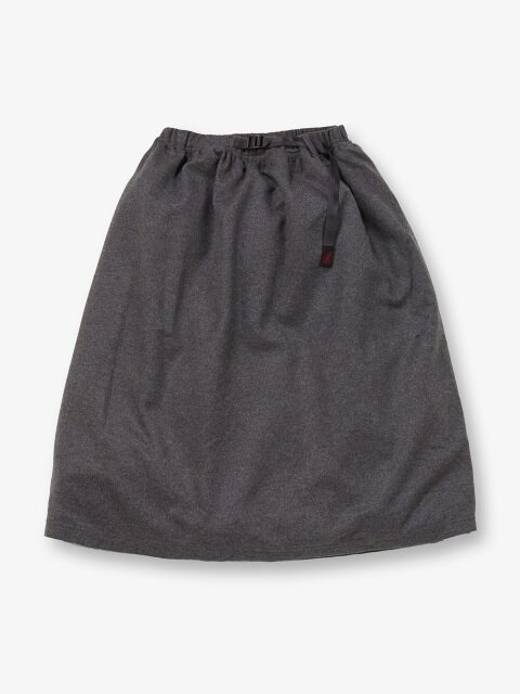 WMNS WOOL LONG FLARE SKIRT HEATHER CHARCOAL