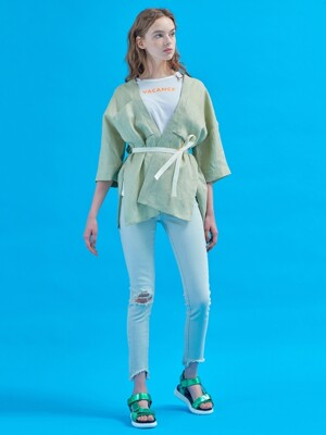 Serenity cropped robe [Peace olive]