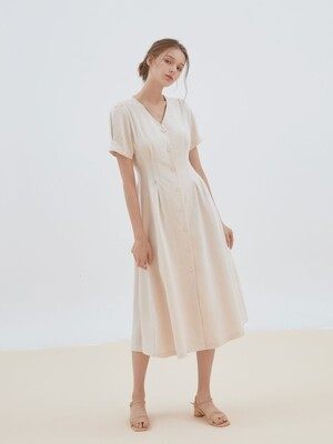 slim pintuck button dress [beige]
