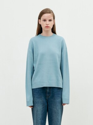 Round Neck Knit [Light Blue]