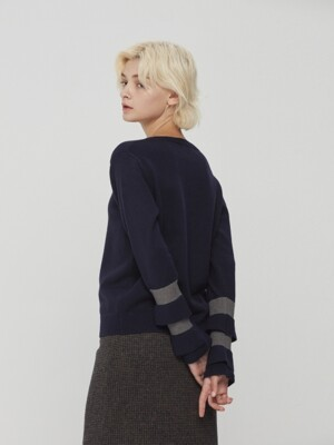 Ruffle Bicolor Sleeve Knit Pullover Navy