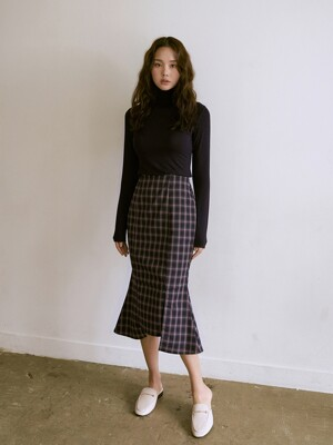 [SET]R BASIC POLA NAVY+R MERMAID SKIRT CHECK NAVY