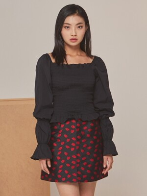 SMOCK SHIRRING BLOUSE BLACK