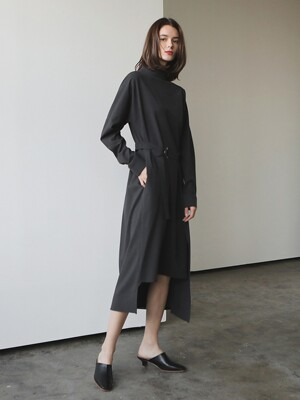 Wool side wrap dress_Charcoal