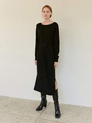 A BOAT NECK KNIT DR_BLACK