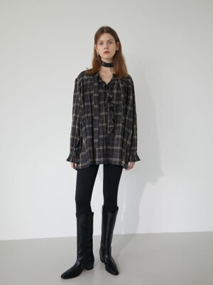 19' WINTER_BLACK CHECK TIE BLOUSE