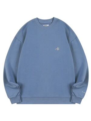 AB LOGO EMBROIDERY CREW NECK_DUSTY BLUE