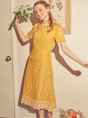 A-line Punching Dress_ Yellow