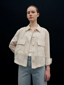 linen cropped shirt jacket 2종