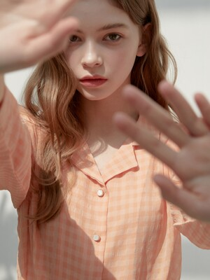 [By Joorti] J424 see through checked blouse (orange)