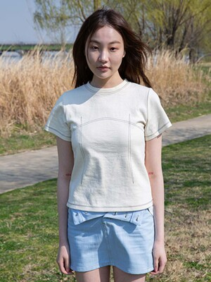STITCH LINED TEE IVORY