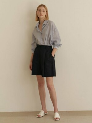 Wide linen shorts-Navy