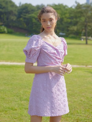 DAISY LACE PUFF SLEEVES ONEPIECE_VIOLET PINK