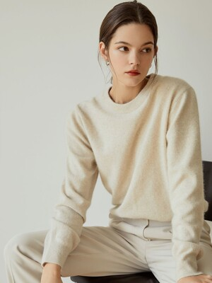 simple round fox knit[beige]