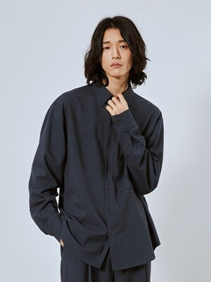 SAGE Wool Blended Pocket Shirt_Blue Grey (Set-up)