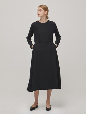 Long Sleeve Flare Dress - Black