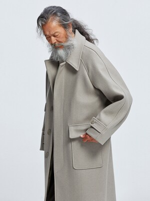 Heavy wool oversized balmacaan coat _ oatmeal