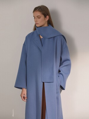 DEMERE WOOL SCARF COAT (DEMERE BLUE)