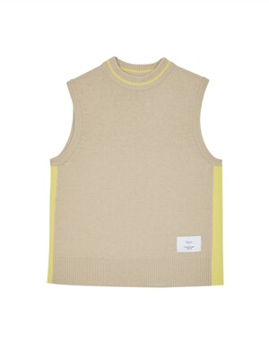 [EXCLUSIVE] Color Lined Knit Vest camel & yellow