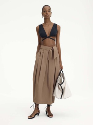 TIE-WAIST BALLOON LONG SKIRT (COCOA)
