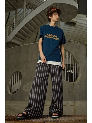 Wide Leg Pattern Trousers (NAVY)